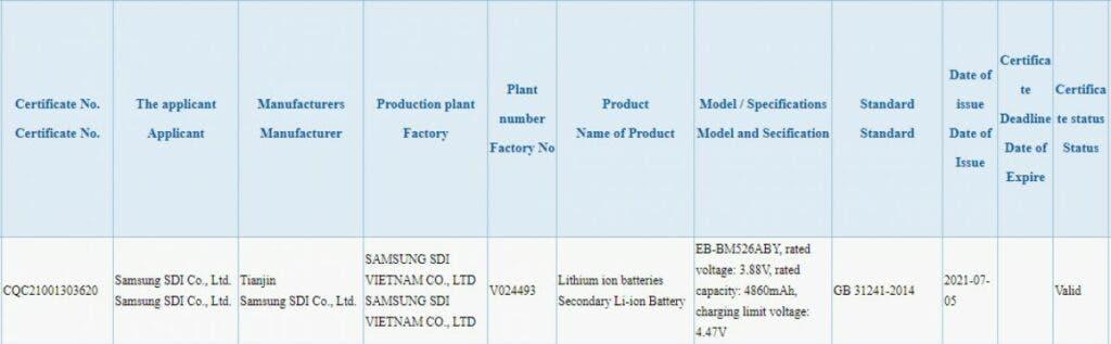 Samsung Galaxy M52 5G está pasando por la certificación 3C