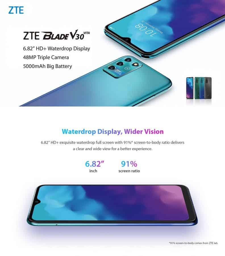 ZTE Blade V30 y V30 Vita con cámaras de 64 MP oficialmente