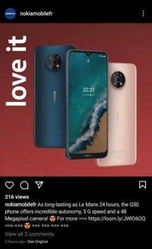 Han salido a la luz las especificaciones y el diseño del Nokia G50 5G