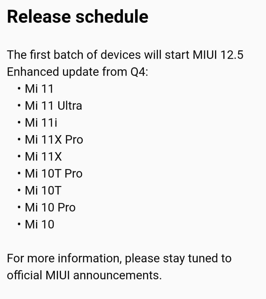 Versión mejorada de MIUI 12.5
