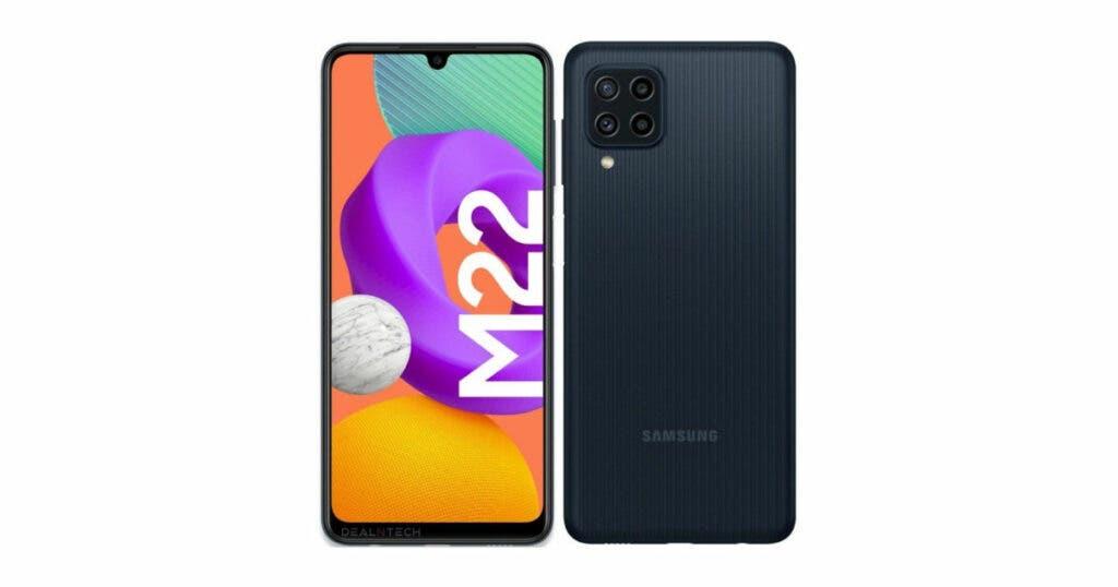 La página de soporte del Samsung Galaxy M22 se conecta en línea en el sitio web de Rusia