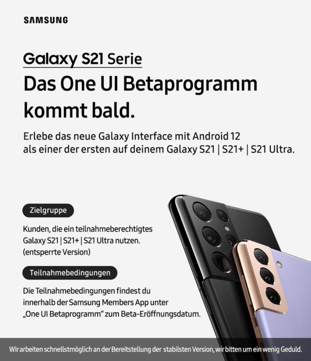La serie Samsung Galaxy S21 (versión global) tendrá Android 12 pronto